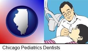 Chicago, Illinois - a pediatrics dentist and a dental patient