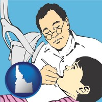 id map icon and a pediatrics dentist and a dental patient